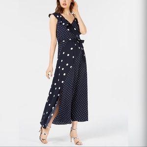 NEW! Bar III Mixed-Dots Maxi Dress